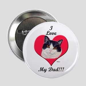 Black & White Cat Father's Day Button