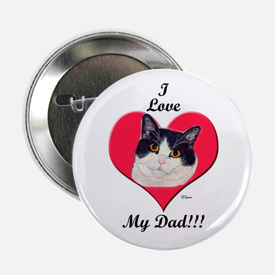 Black & White Cat Father's Day Button