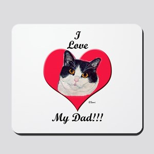 Black & White Cat Father's Day Mousepad