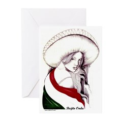 MEXICAN FLAG CHARRA Greeting Cards (Pk of 10)