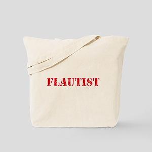 Flautist Red Stencil Design Tote Bag