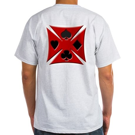 Ace Biker Iron Maltese Cross Ash Grey T-Shirt