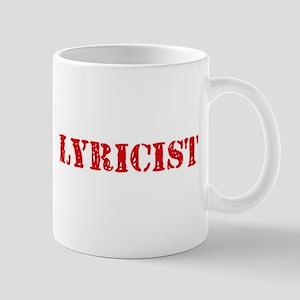 Lyricist Red Stencil Design Mugs