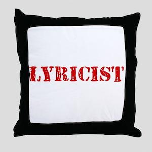Lyricist Red Stencil Design Throw Pillow