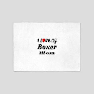 I Love My BOXER Mom 5'x7'Area Rug