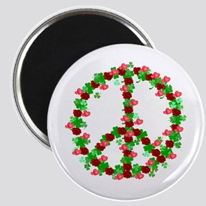 Roses and Clover Peace Sign Magnet