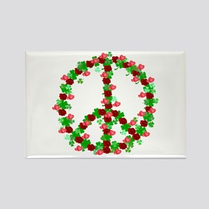 Roses and Clover Peace Sign Rectangle Magnet