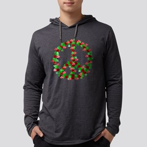 Roses and Clover Peace Sign Mens Hooded Shirt