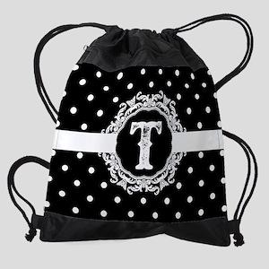 Black Monogram: Letter T Drawstring Bag