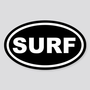 SURF Surfing Black Euro Oval Sticker