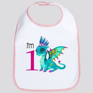 First Birthday Dragon Cotton Baby Bib