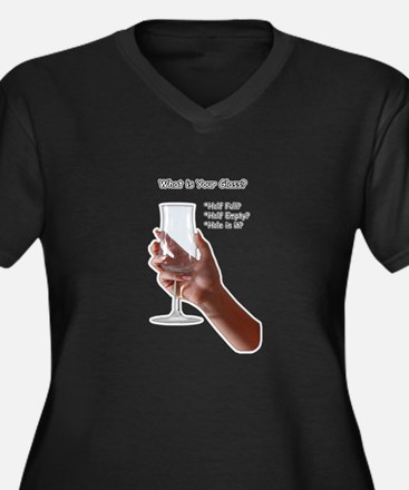 What is your glass? Women's Plus Size V-Neck Dark