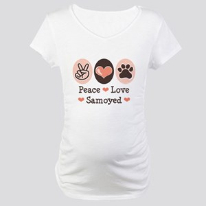 Peace Love Samoyed Maternity T-Shirt