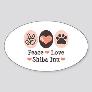 Peace Love Shiba Inu Oval Sticker