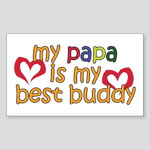 Papa is My Best Buddy Rectangle Sticker