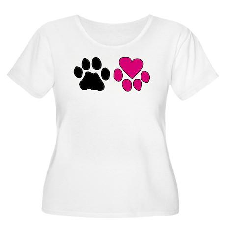 Heart Paw Women's Plus Size Scoop Neck T-Shirt