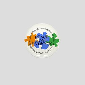 Autism Awareness - Peace Love Patience Mini Button