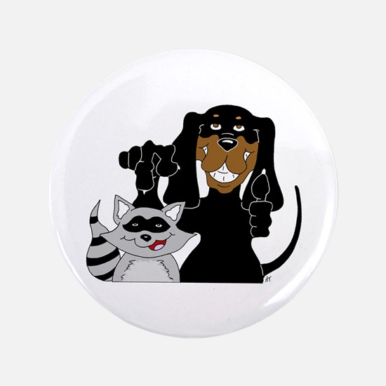 """Coonhound and Raccoon 3.5"""" Button"""