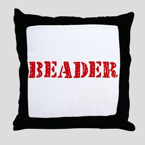 Beader Red Stencil Design Throw Pillow