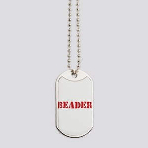 Beader Red Stencil Design Dog Tags