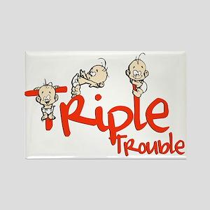 Triple Trouble Rectangle Magnet