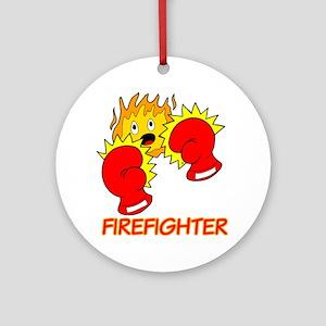 Firefighter Cartoon Ornament (Round)