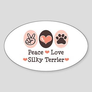 Peace Love Silky Terrier Oval Sticker