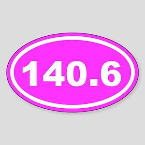 140.6 Ironman Pink Euro Oval Sticker