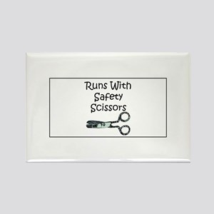 Runs With Safety Scissors Rectangle Magnet