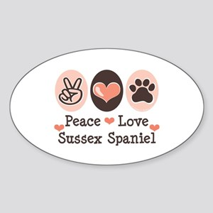 Peace Love Sussex Spaniel Oval Sticker
