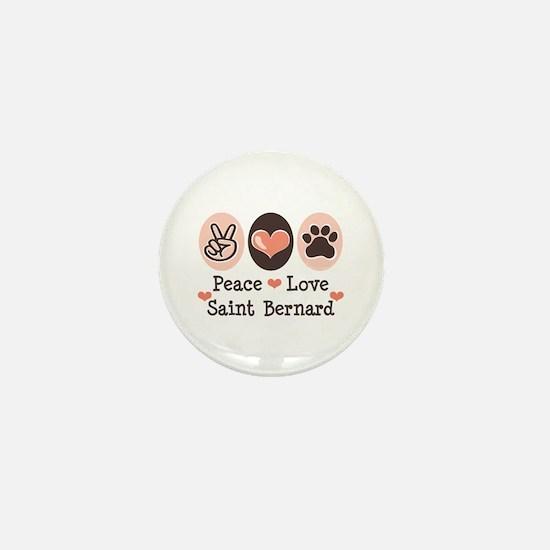 Peace Love Saint Bernard Mini Button