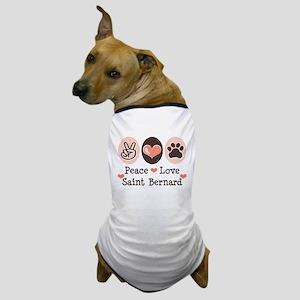 Peace Love Saint Bernard Dog T-Shirt