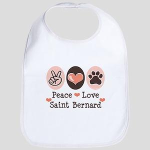 Peace Love Saint Bernard Bib