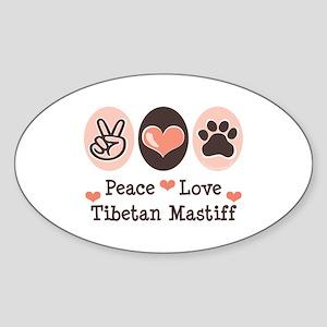 Peace Love Tibetan Mastiff Oval Sticker