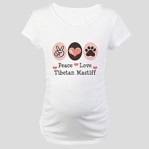 Peace Love Tibetan Mastiff Maternity T-Shirt