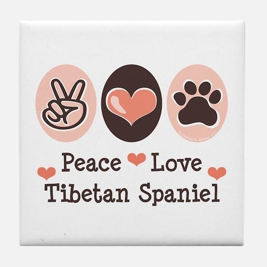 Peace Love Tibetan Spaniel Tile Coaster