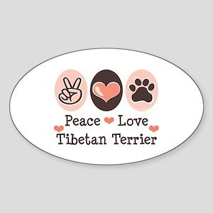 Peace Love Tibetan Terrier Oval Sticker