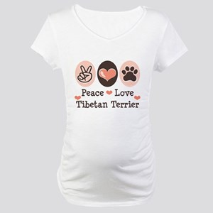 Peace Love Tibetan Terrier Maternity T-Shirt