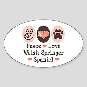Peace Love Welsh Springer Spaniel Oval Sticker