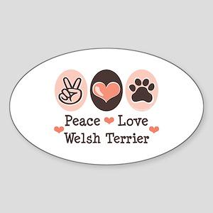 Peace Love Welsh Terrier Oval Sticker