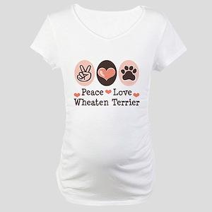 Peace Love Wheaten Terrier Maternity T-Shirt
