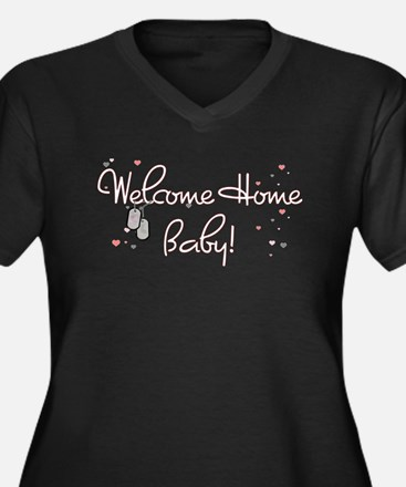 Welcome Home Baby! Women's Plus Size V-Neck Dark T