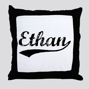 Vintage Ethan (Black) Throw Pillow