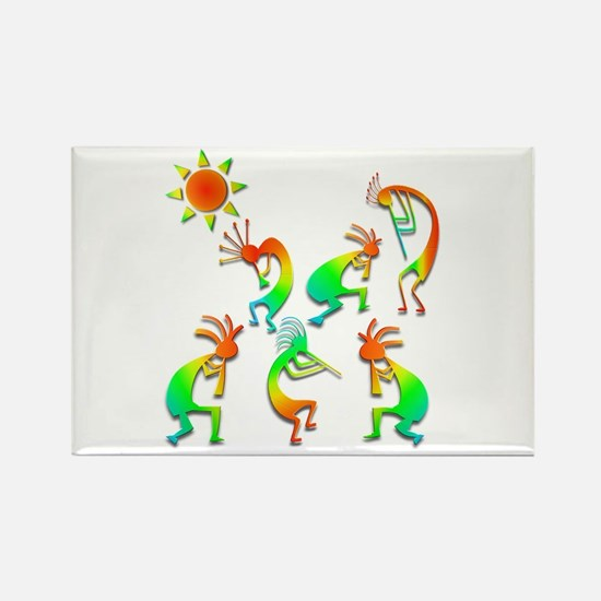 Kokopelli Sun Dance Rectangle Magnet (10 pack)