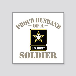 "Proud Army Soldier's Husban Square Sticker 3"" x 3"""