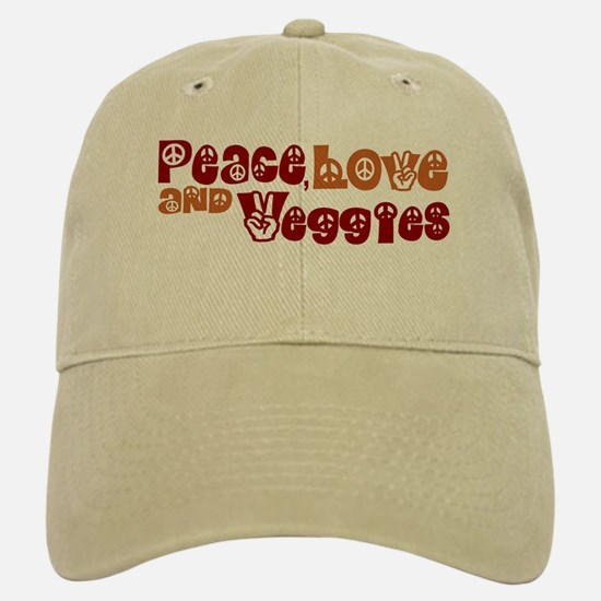 Peace, Love and Veggies Baseball Baseball Cap