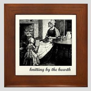 Knitting By the Hearth Framed Tile