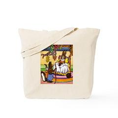 Knitting Bunny Rabbit Tote Bag