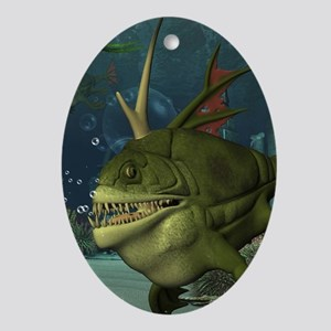 Awesome armourfush in the deep ocean Oval Ornament