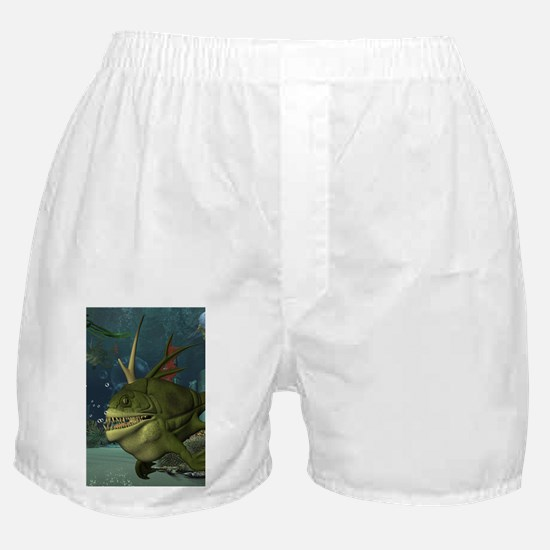 Awesome armourfush in the deep ocean Boxer Shorts